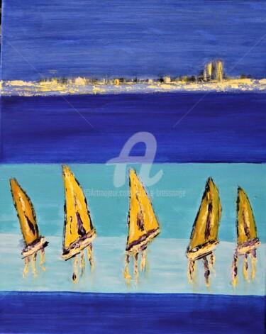 Peinture Bateau, acrylique, expressionnisme, œuvre d'art par Louise Bressange